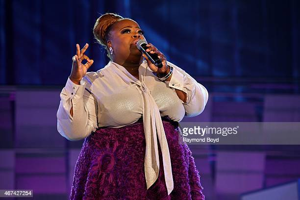 """Singer Crystal Aikin, winner of BET's first season of """"Sunday Best"""" performs during the Allstate Gospel SuperFest 2015 at House Of Hope Arena on..."""