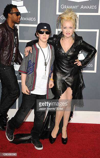 Singer Cyndi Lauper and son Declyn Wallace Thornton arrive at The 53rd Annual GRAMMY Awards held at Staples Center on February 13 2011 in Los Angeles...