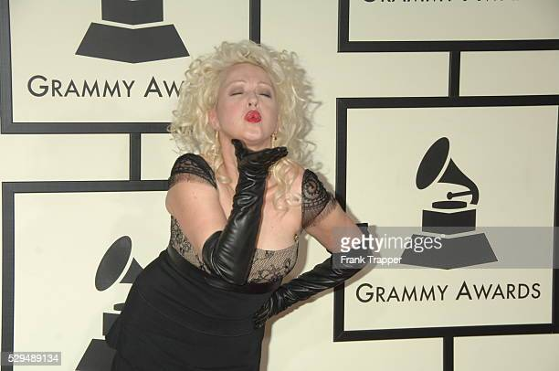 Singer Cyndi Lauper arrives on the red carpet during the 50th Annual GRAMMY�� Awards at the Staples Center in Los Angeles