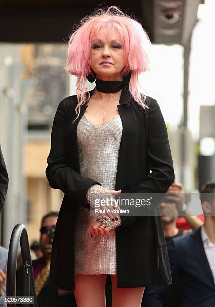 Singer Cyndi Lauper attends the ceremony to honor Cyndi Lauper and Harvey Fierstein each with a Star on The Hollywood Walk Of Fame on April 11 2016...