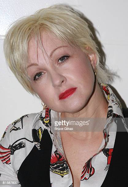 """Singer Cyndi Lauper poses backstage before she performs on Rosie O'Donnell's """"R Family Vacations"""" Spring Cruise on March 16, 2008 on The Holland..."""