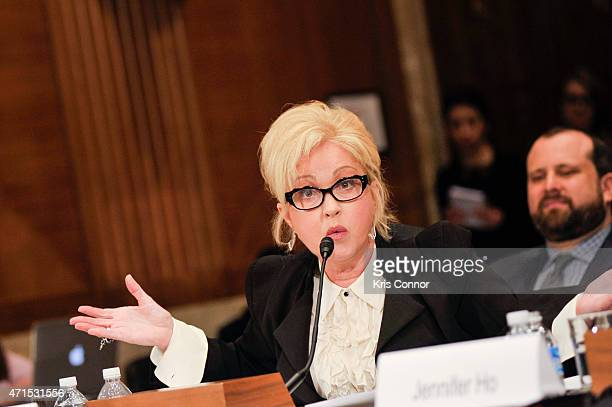 Singer Cyndi Lauper speaks during a Senate Appropriations' Transportation Housing and Urban Development and Related Agencies Subcommittee holds a...