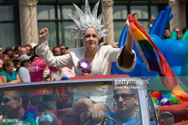 Singer Cyndi Lauper takes part in the 38th Annual San Francisco Lesbian Gay Bisexual Transgender Pride Celebration Parade on Market Street June 29...