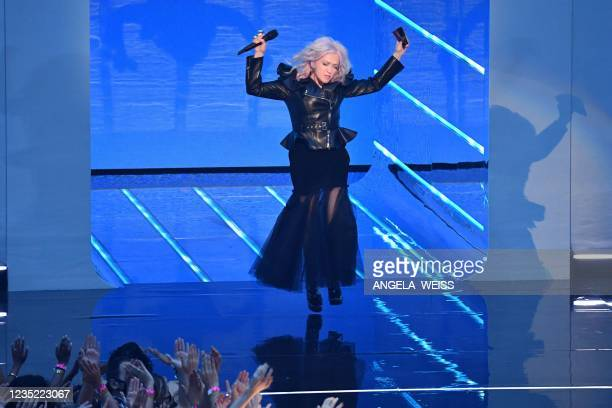 Singer Cyndi Lauper walks on stage during the 2021 MTV Video Music Awards at Barclays Center in Brooklyn, New York, September 12, 2021.