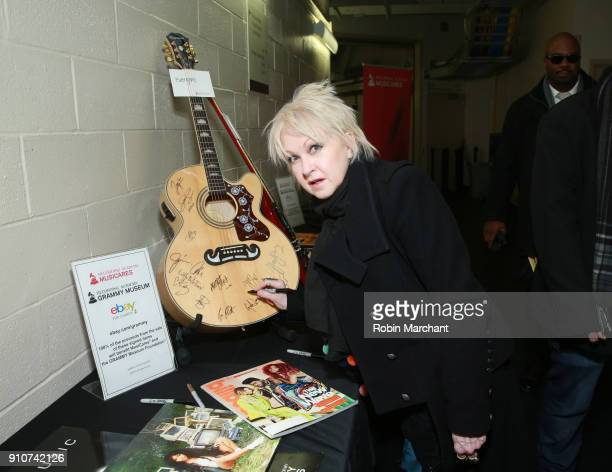 Singer Cyndi Lauper with the GRAMMY Charities Signings during the 60th Annual GRAMMY Awards at Madison Square Garden on January 26 2018 in New York...