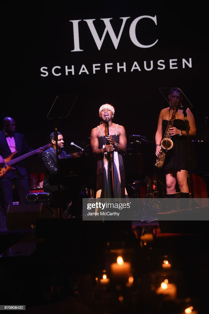 Singer Cynthia Erivo performs during the exclusive gala event 'For the Love of Cinema' during the Tribeca Film Festival hosted by luxury watch manufacturer IWC Schaffhausen on April 20, 2017 in New York City.
