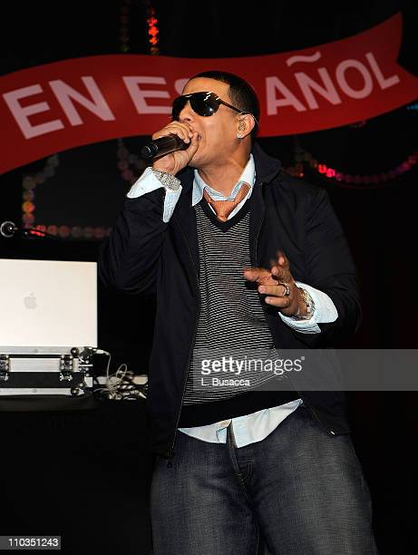 Singer Daddy Yankee on stage at the People en Espanol Celebrates 12th Annual 50 Most Beautiful Issue party at Mansion New York on May 14 2008 in New...