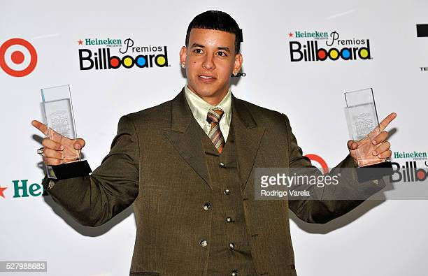 Singer Daddy Yankee poses in the press room during the 2008 Billboard Latin Music Awards at the Seminole Hard Rock Hotel and Casino on April 10 2008...