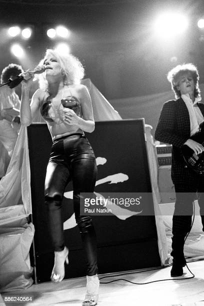 Singer Dale Bozzio foreground of Missing Persons performs in Milwaukee Wisconsin March 15 1983 Band member on the right is unidentified