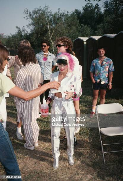 Singer Dale Bozzio of American rock band Missing Persons at the US Festival in South California June 1983