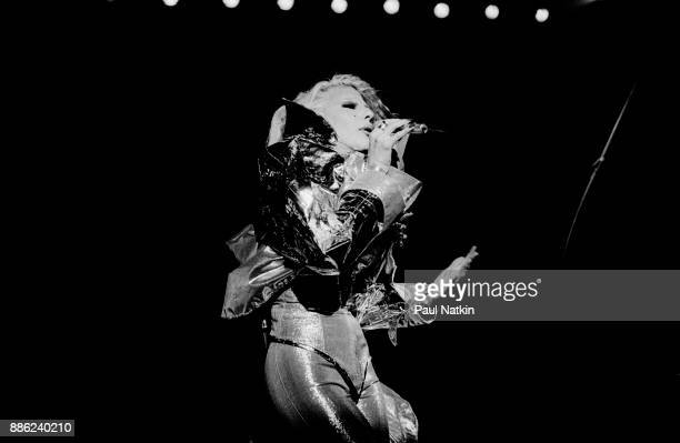 Singer Dale Bozzio of Missing Persons performs at the Bismark Theater in Chicago Illinois August 7 1984