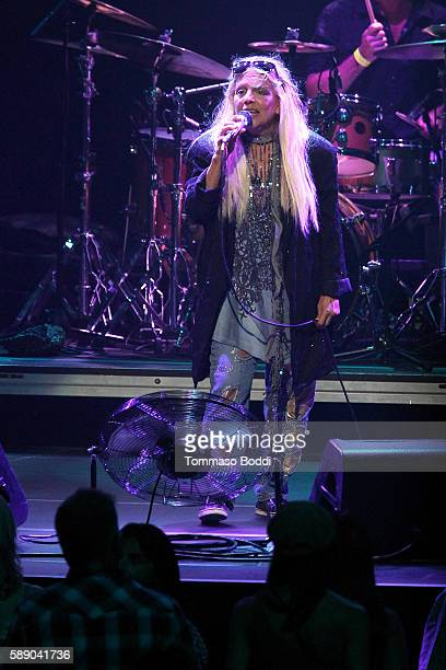 Singer Dale Bozzio of Missing Persons performs on stage at the 80's Weekend held at Microsoft Theater on August 12 2016 in Los Angeles California