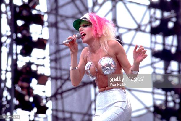 Singer Dale Bozzio of the band Missing Persons performs at the US Festival in Ontario California May 29 1983