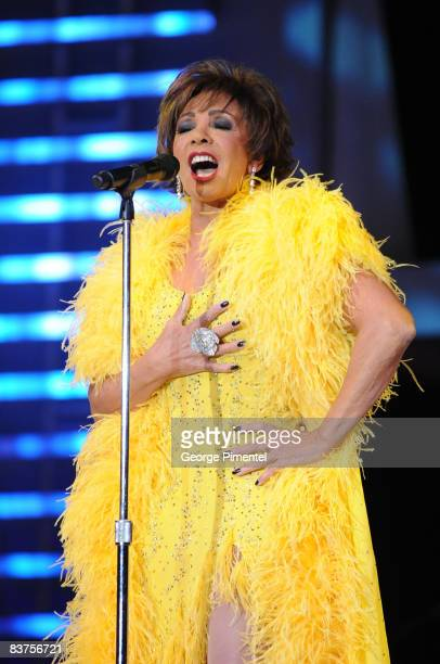 Singer Dame Shirley Bassey performs at the 2008 Fashion Cares Gala at the Metro Toronto Convention Centre on November 1 2008 in Toronto Canada