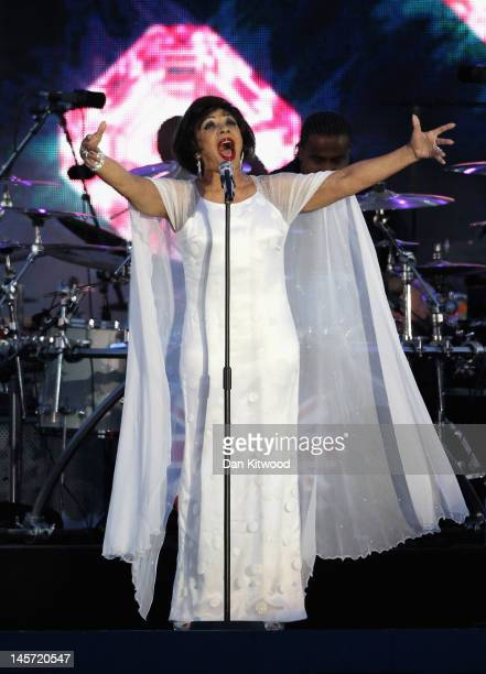 Singer Dame Shirley Bassey performs on stage during the Diamond Jubilee concert at Buckingham Palace on June 4 2012 in London England For only the...