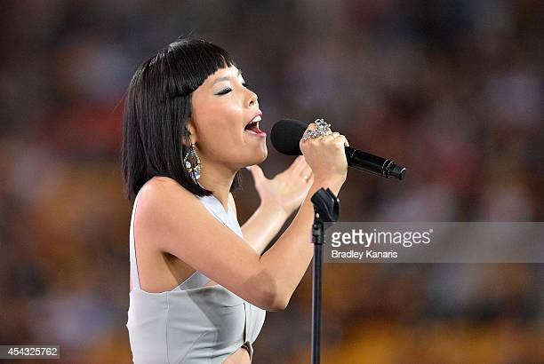 Singer Dami Im performs live before the round 25 NRL match between the Brisbane Broncos and the St George Illawarra Dragons at Suncorp Stadium on...
