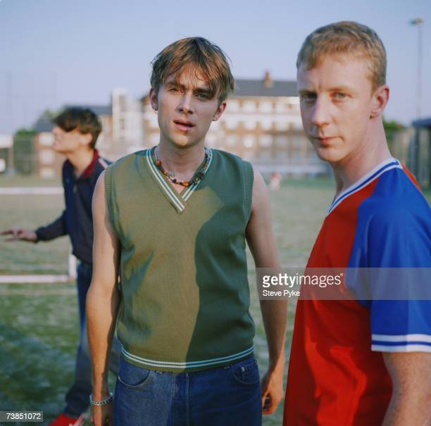 Singer Damon Albarn and drummer Dave Rowntree of British band Blur 20th July 1995 Bassist Alex James is in the background