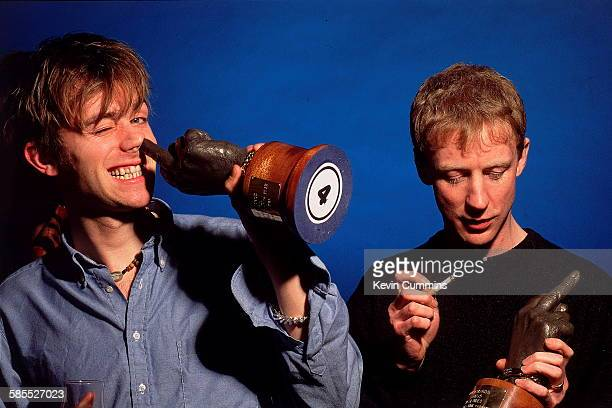 Singer Damon Albarn and drummer Dave Rowntree of English Britpop band Blur at the NME Brat Awards London February 1995 The group were presented with...