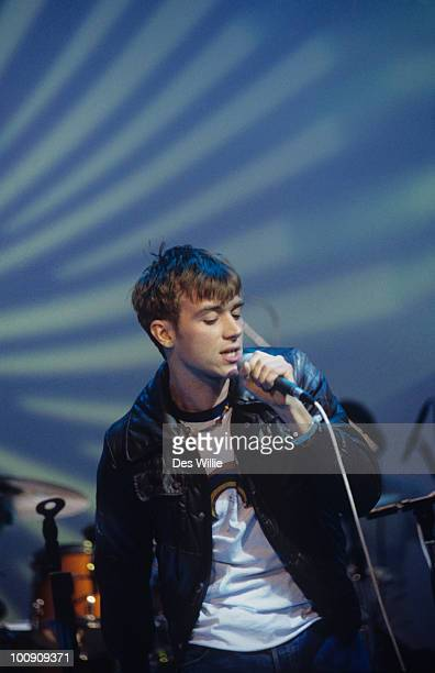 Singer Damon Albarn of Blur performs on The White Room television show in 1996