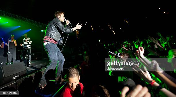 Singer Damon Albarn of the British band Gorillaz performs live during a concert at the Velodrom on November 21 2010 in Berlin Germany