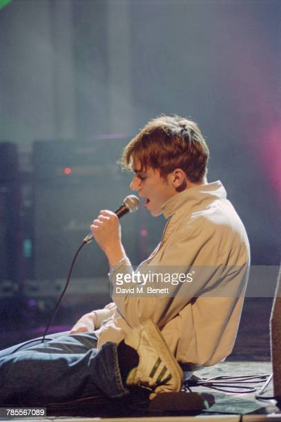 Singer Damon Albarn performing 'Girls Boys' with Blur at the 1995 Brit Awards held at Alexandra Palace London 20th February 1995 Blur won a record...