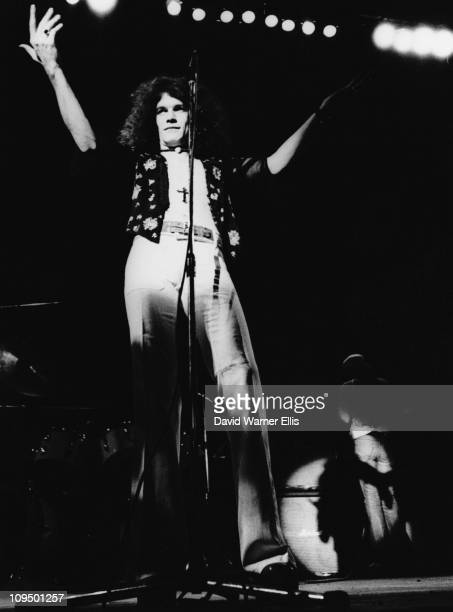 Singer Dan McCafferty on stage with Scottish rock group Nazareth circa 1975