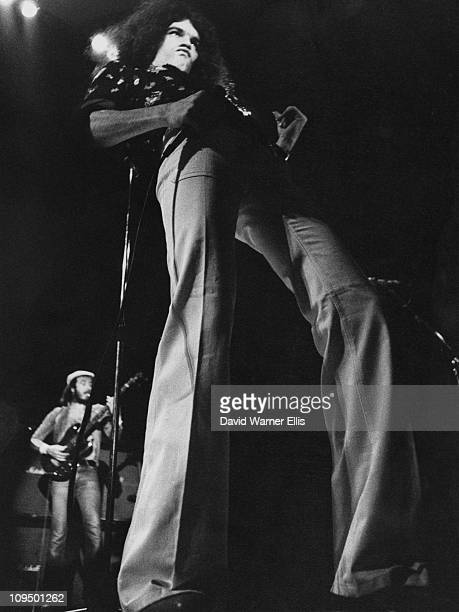 Singer Dan McCafferty performing with Scottish rock group Nazareth circa 1975 In the background left is bassist Pete Agnew