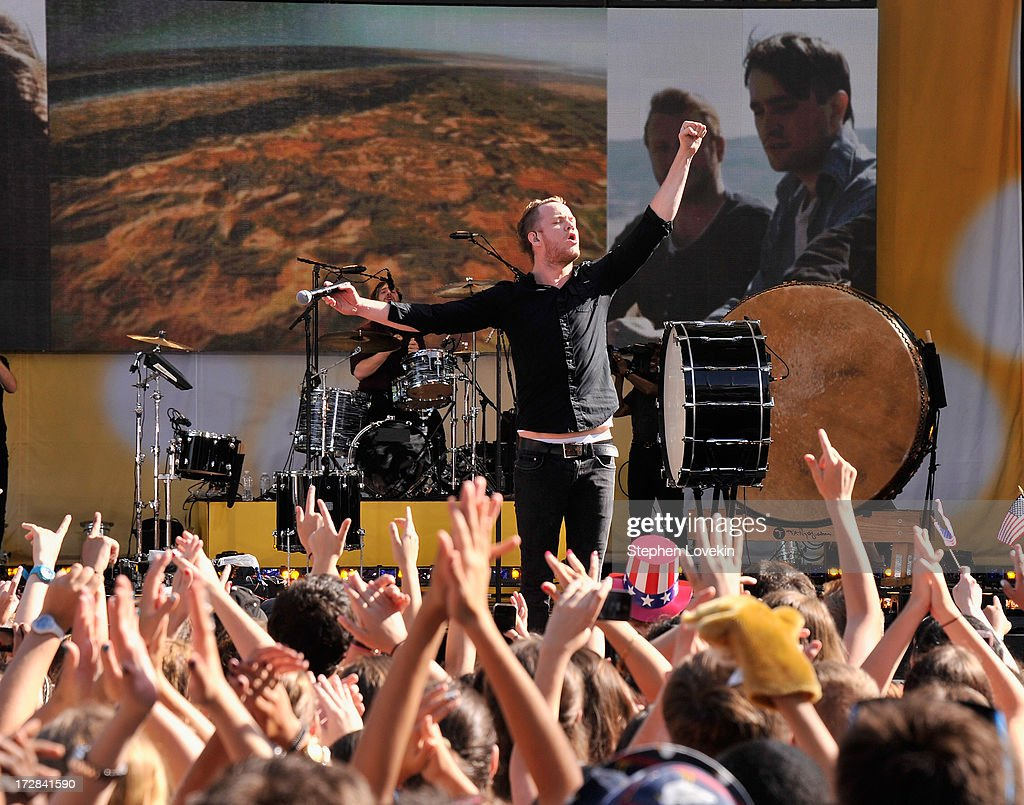 Singer Dan Reynolds of Imagine Dragons performs on ABC's 'Good Morning America' at Rumsey Playfield on July 5, 2013 in New York City.