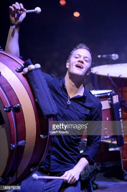 Singer Dan Reynolds of Imagine Dragons performs onstage during day 1 of the Life is Beautiful festival on October 26 2013 in Las Vegas Nevada
