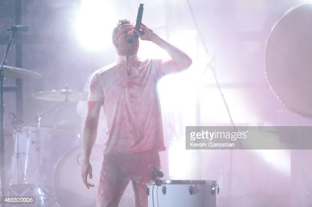 Singer Dan Reynolds of Imagine Dragons performs onstage during the 56th GRAMMY Awards at Staples Center on January 26 2014 in Los Angeles California