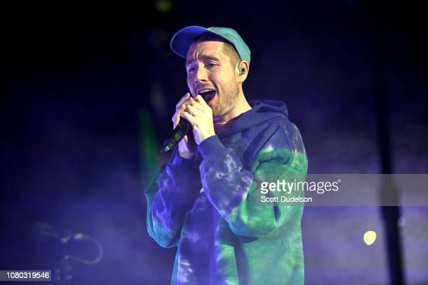 Singer Dan Smith of the band Bastille performs onstage during the KROQ Absolut Almost Acoustic Christmas 2018 at The Forum on December 08 2018 in...