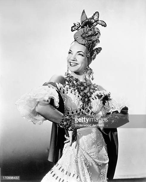 Singer dancer actress and movie star Carmen Miranda in one of her famous outfits Hollywood California 1942