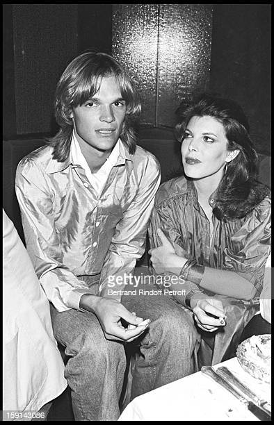 Singer Dani and friend during a party at Elysee Matignon night club in Paris in 1977