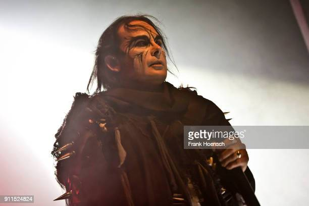 Singer Dani Filth of the British band Cradle of Filth performs live on stage during a concert at the Columbia Theater on January 28 2018 in Berlin...