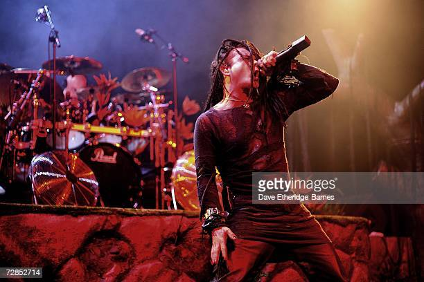 Singer Dani Filth of the satanic thrash metal band Cradle Of Filth performs on stage at the Astoria December 19 2006 in London Cradle Of Filth wind...