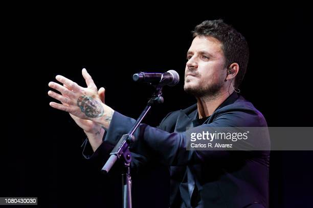 Singer Dani Martin performs on stage during the 'Animo Animal' tribute concert to Eduardo Aute at the WiZink center on December 10 2018 in Madrid...