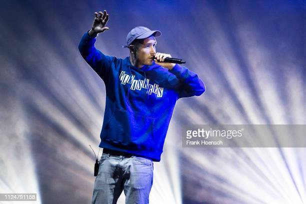 Singer Daniel Campbell Smith of the British band Bastille performs live on stage during a concert at the verti Music Hall on February 13 2019 in...