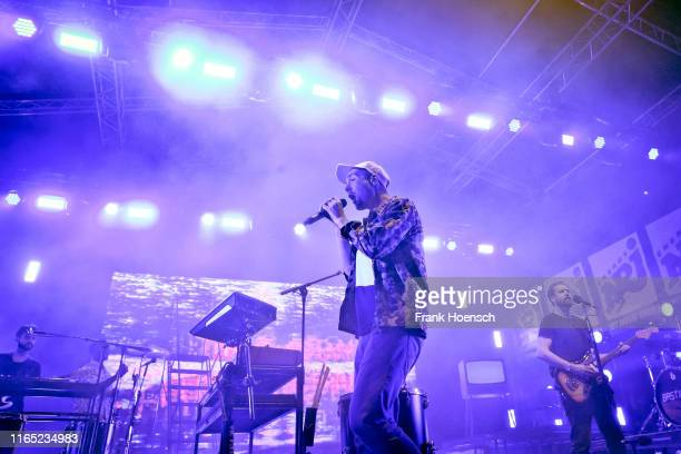 Singer Daniel Campbell Smith of the British band Bastille performs live on stage during the Energy Music Tour at the Kulturbrauerei on August 31 2019...