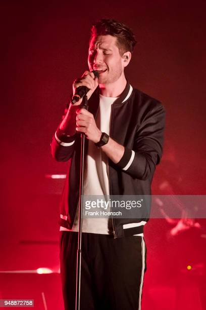 Singer Daniel Campbell Smith of the British band Bastille performs live on stage during a concert at the Tempodrom on April 19 2018 in Berlin Germany
