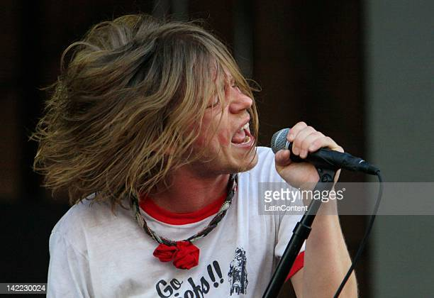 Singer Daniel Tichenor of Cage The Elephant performs live on stage during the 2012 Lollapalooza Music Festival at OHiggins Park on Marchl 31 2012 in...