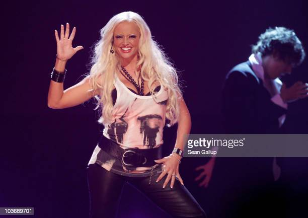Singer Daniela Katzenberger performs at The Dome 55 on August 27 2010 in Hannover Germany