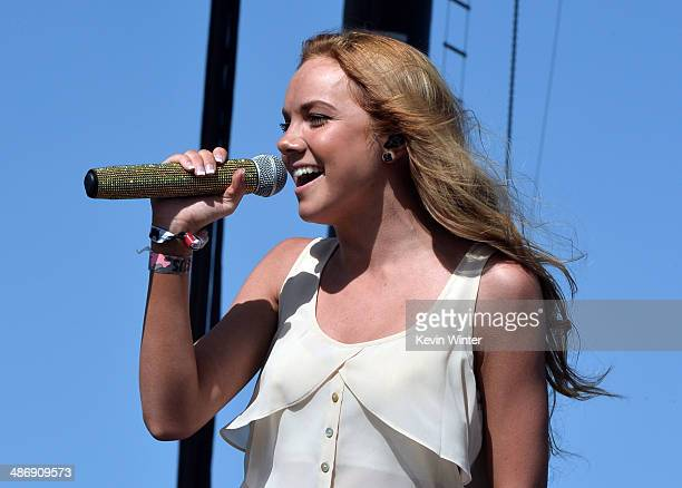 Singer Danielle Bradbery performs onstage during day 2 of 2014 Stagecoach California's Country Music Festival at the Empire Polo Club on April 26...