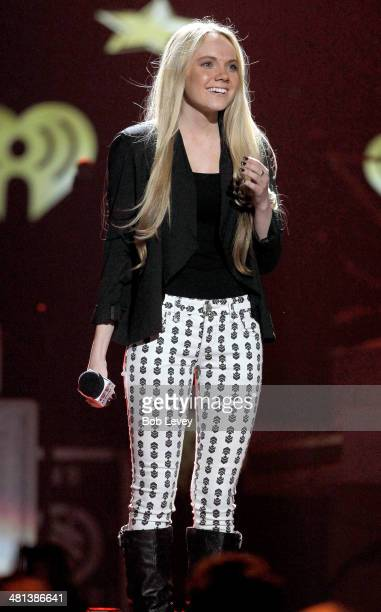 Singer Danielle Bradbery speaks onstage during iHeartRadio Country Festival in Austin at the Frank Erwin Center on March 29 2014 in Austin Texas