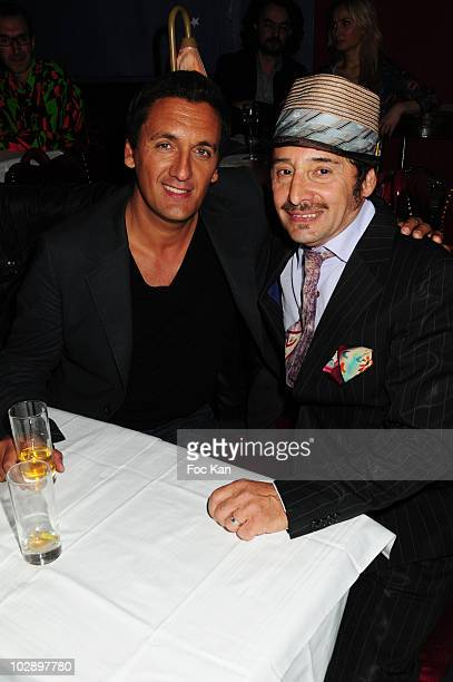 Singer Danny Brillant and DJ Albert de Paname attend The Albert de Paname Nouvelle Eve Party at the Nouvelle Eve Cabaret on June 19 2010 in Paris...