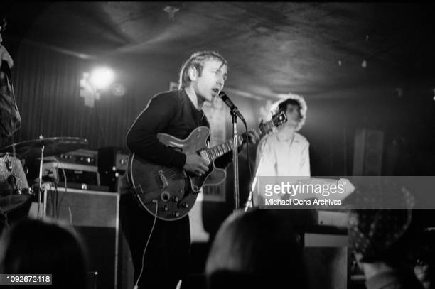 Singer Danny Kalb of American band The Blues Project in concert at the Cafe Au Go Go a nightclub in Greenwich Village New York City circa 1965 Band...