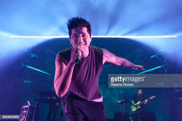 Singer Danny O'Donoghue of Irish band The Script performs on stage at Usher Hall on August 29 2017 in Edinburgh Scotland