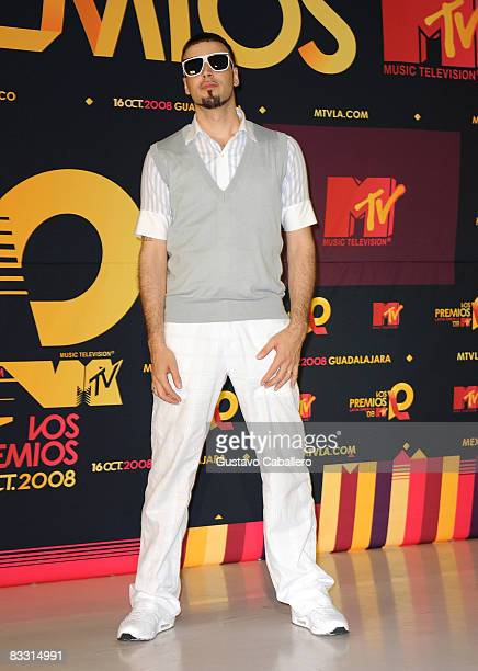 Singer Dante Spinetta poses in the press room during the 7th Annual 'Los Premios MTV Latin America 2008' Awards held at the Auditorio Telmex on...