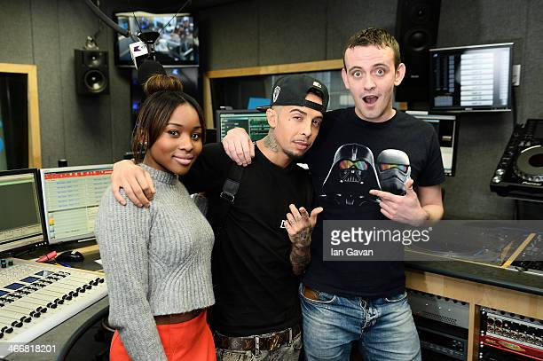 EXCLUSIVE Singer Dappy poses with Live@KISS Michael and Tinea presenters as he visits Kiss FM Studio's on February 4 2014 in London England