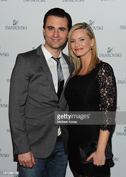 Singer Darius Campbell and actress Natasha Henstridge attend Swarovski Press Preview with Cameron Silver at the Beverly Hills Hotel on January 18...