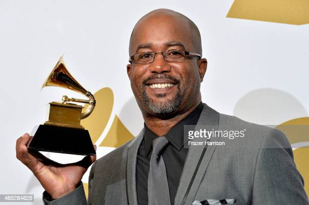 Singer Darius Rucker winner of Best Country Solo Performance for 'Wagon Wheel' poses in the press room during the 56th GRAMMY Awards at Staples...